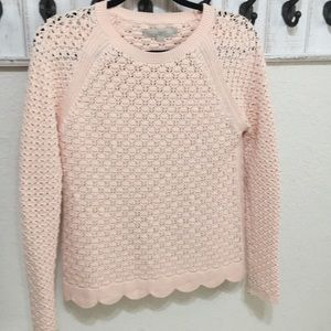 Loft lovely pink scalloped sweater
